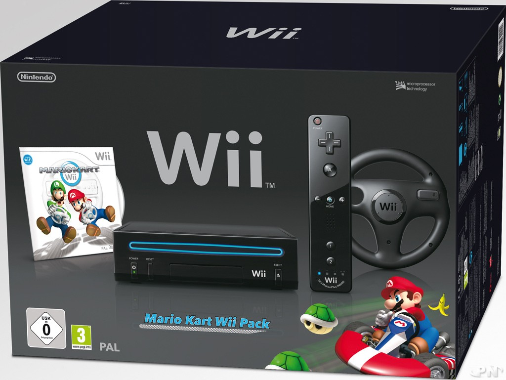 bundle wii nouvelle wii noire avec mario kart. Black Bedroom Furniture Sets. Home Design Ideas