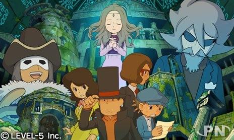 Artwork des personnages du jeu Professeur Layton sur DS/3DS