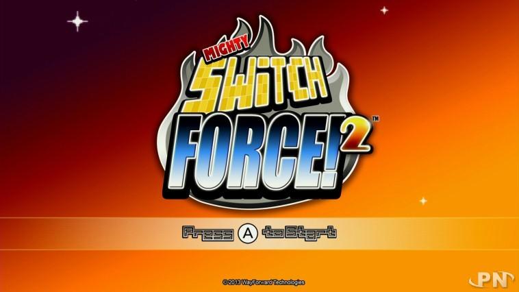 Ecran d'accueil du jeu Mighty Switch Force 2 (version Wii U)