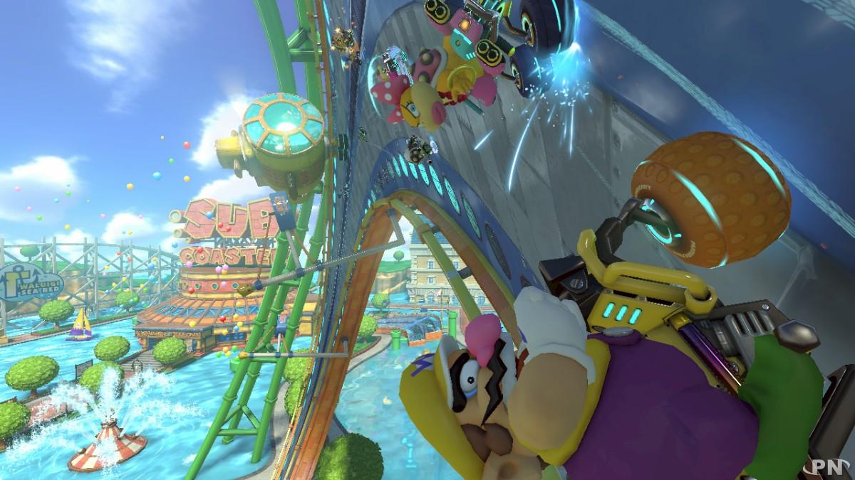 Mario Kart 8 avec Wario qui aura bientôt la tête en bas !