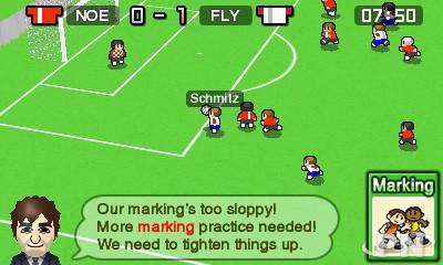 Nintendo Pocket Football Club : reparler du marquage à l'entraînement.