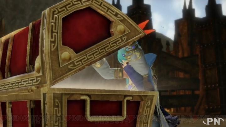 Link ouvre un coffre dans Hyrule Warriors sur Wii U