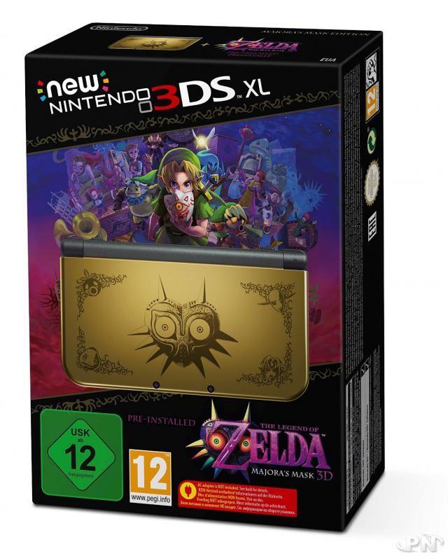 La seule console Zelda jamais créée arborant le logo du Masque de Majora en édition ultra limitée, disponible aussi le 13 février. Son côté dark, dans l'ère du temps, fait mouche…