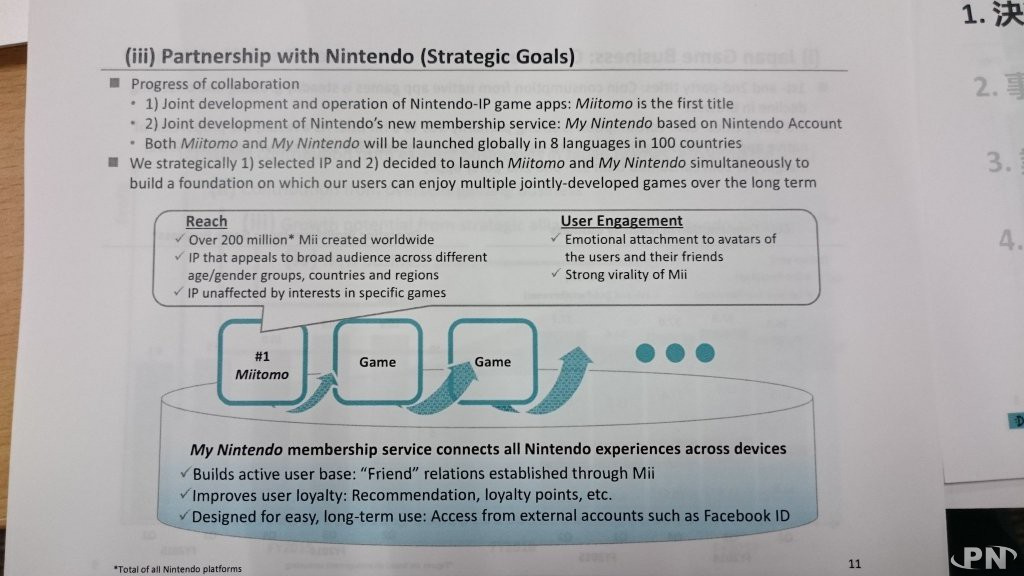 Détails du partenariat avec Nintendo (résultats trimestriels de DeNA)