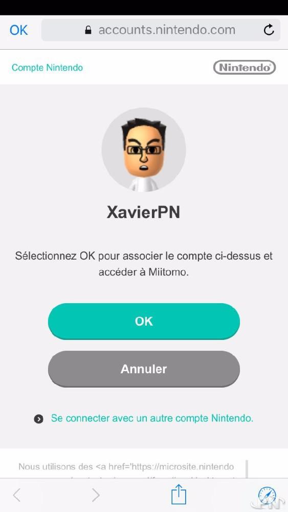 Association identifiant Nintendo Network My Nintendo et Miitomo
