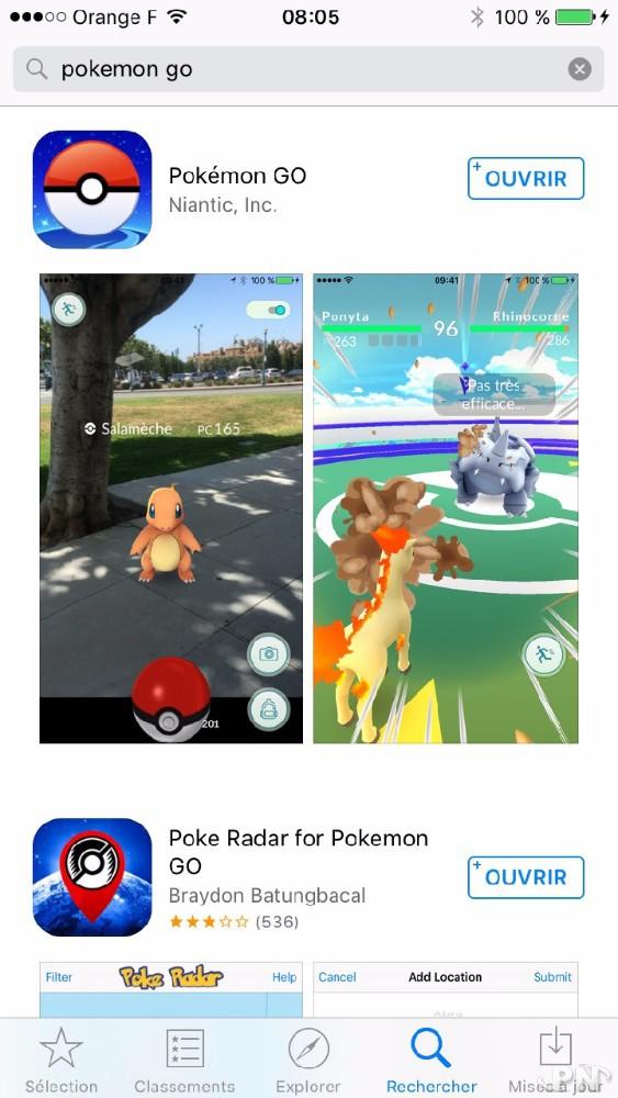 Pokémon GO sur l'AppStore français