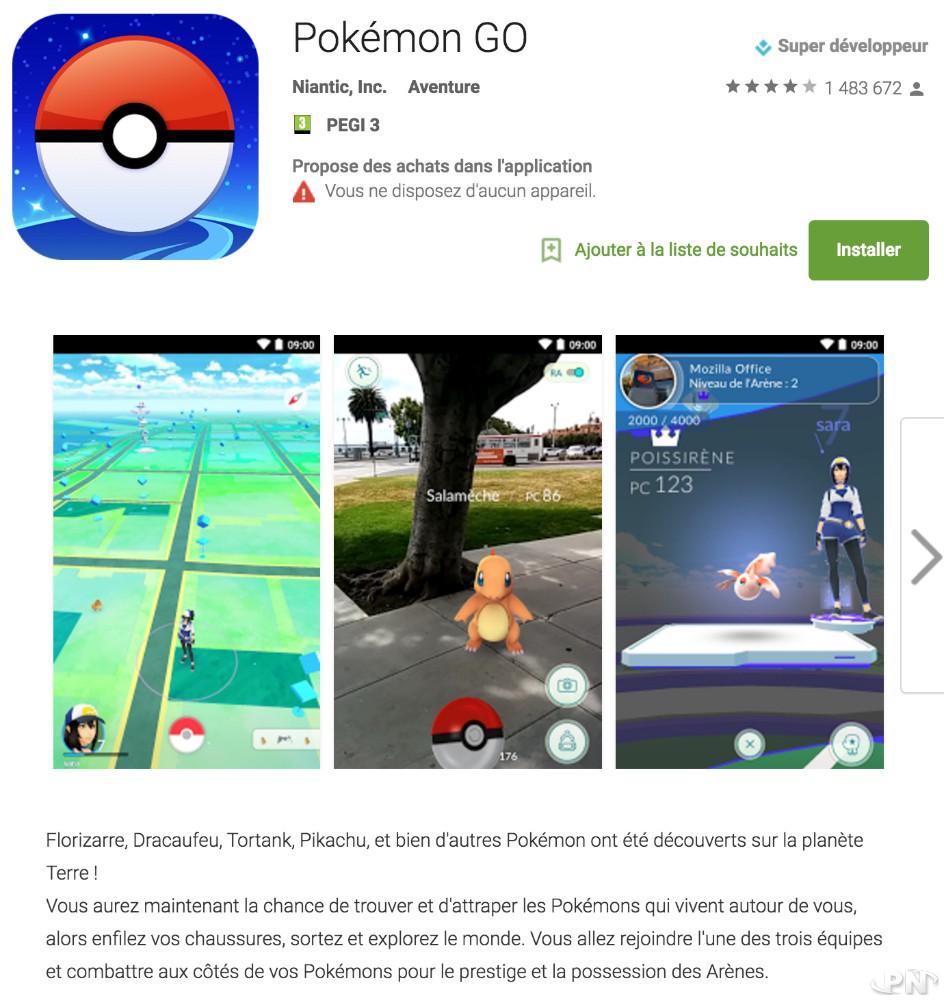 Pokémon GO sur Google Play (Android)