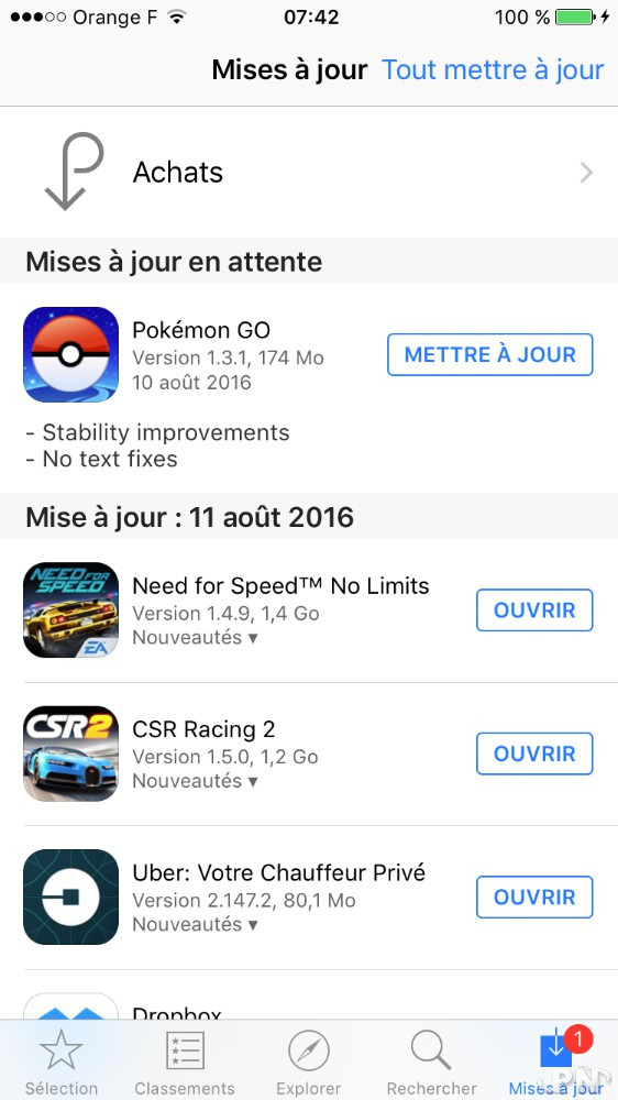 Pokémon GO en version 1.3.1 sur iOS