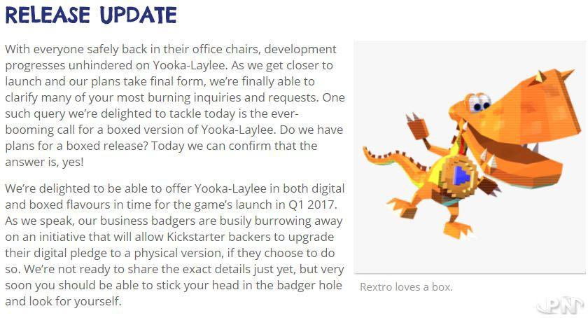 sortie physique annoncée pour Yooka Laylee