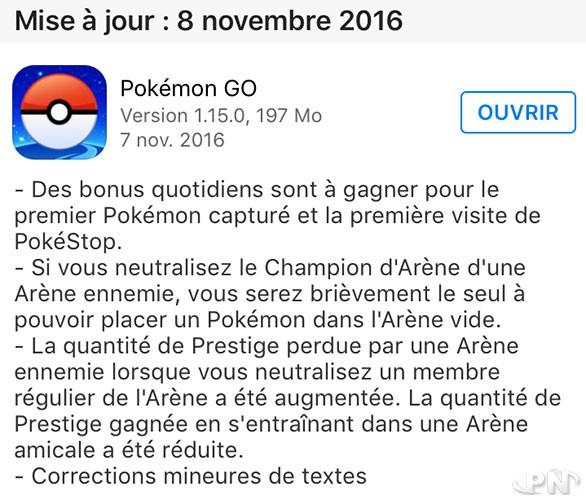 Mise à jour Pokémon Go 1.15.0