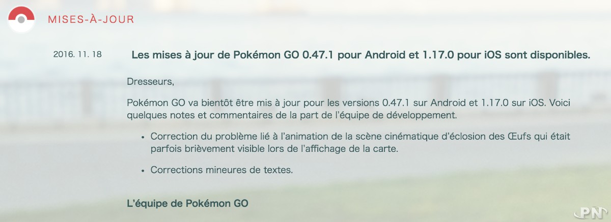 version 1.17.0 de Pokémon GO