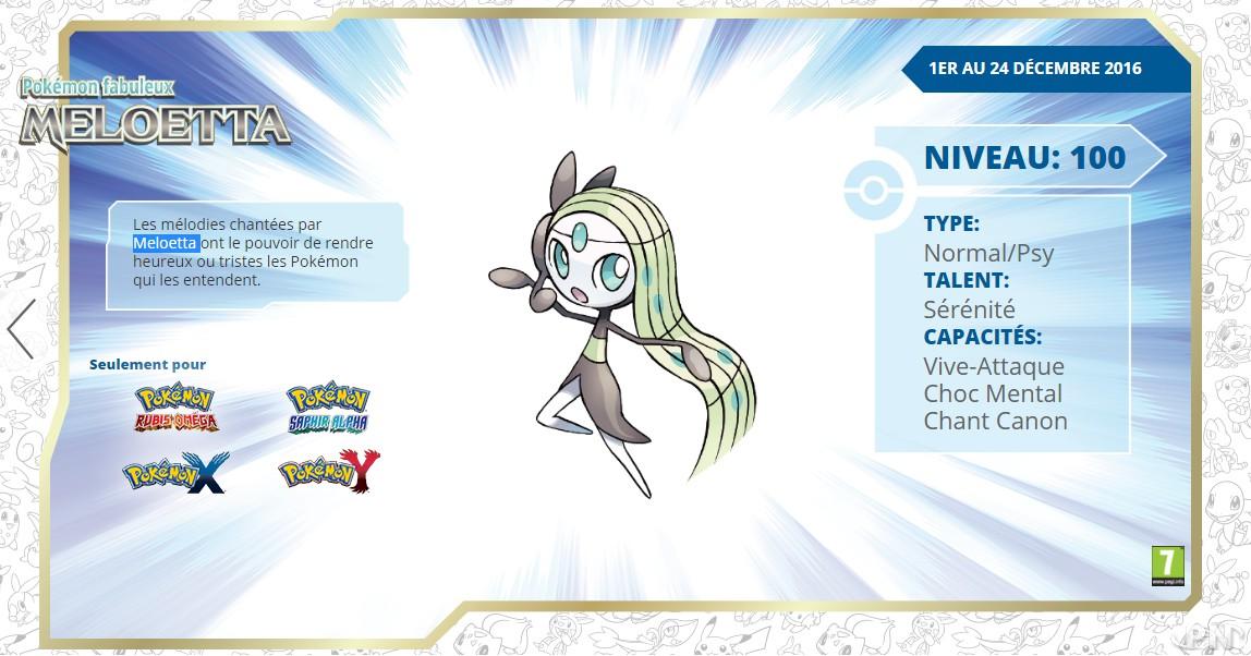 Pokémon Xy Rosa Distributions De Meloetta Et Darceus