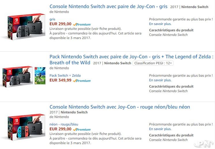 Tarif de la switch en France : 299€ chez Amazon