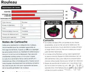 Exemple de présentation d'arme dans le guide officiel Splatoon 2