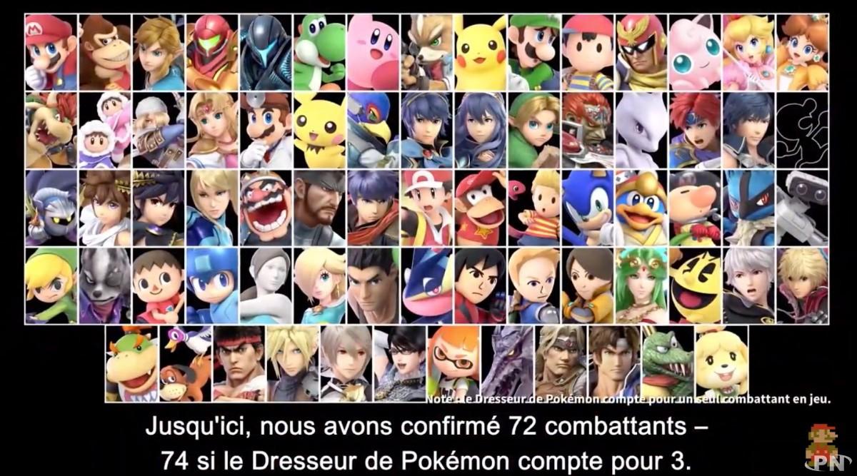Des dizaines de combattants dans Super Smash Bros. Ultimate
