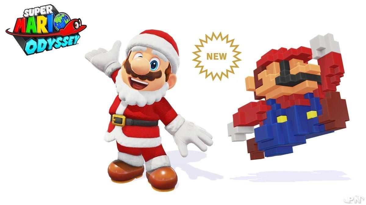 Costume Père Noël Mario et chapeau 8-bit Mario