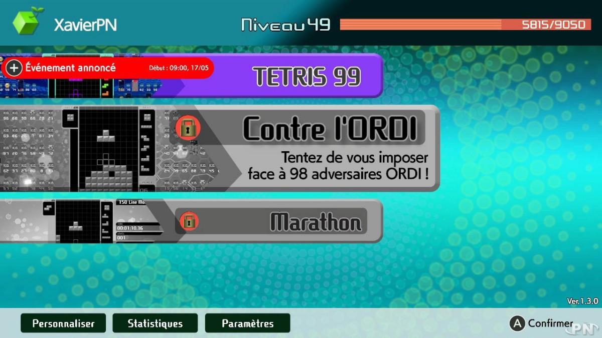 Le nouveau mode Contre l'ordi de Tetris 99