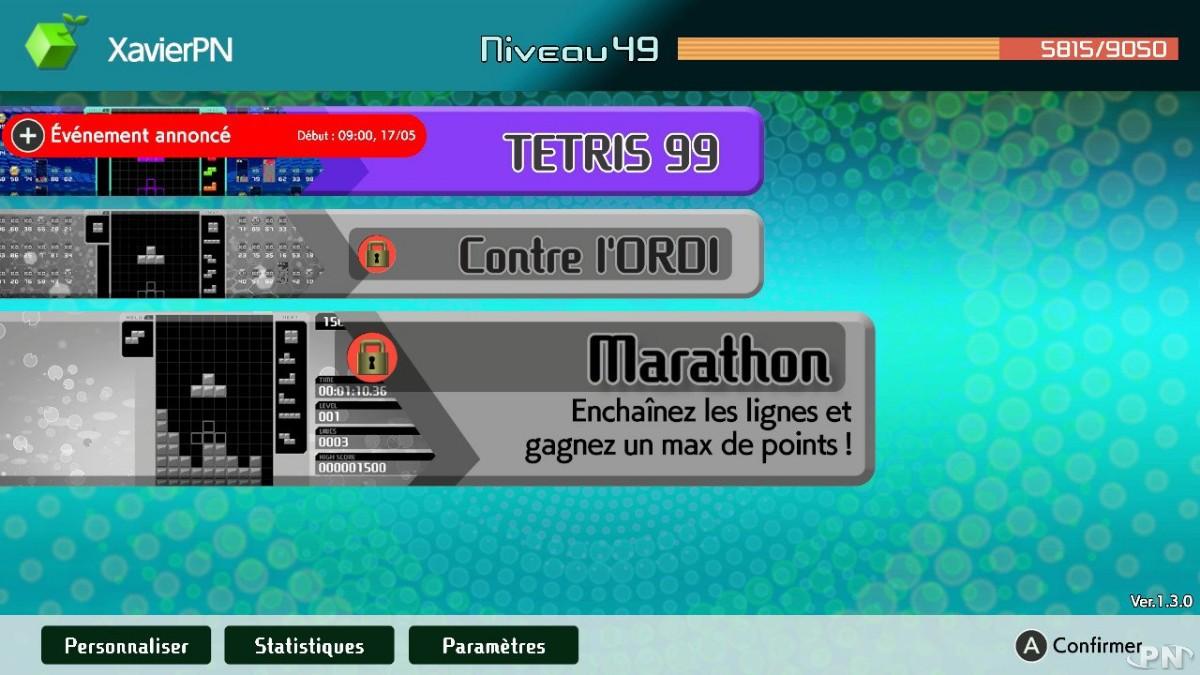 Le nouveau mode Marathon de Tetris 99