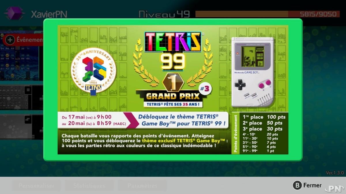Le Tetris 99 Grand Prix #3 annoncé