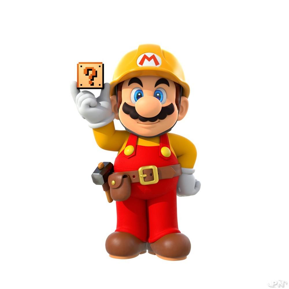 Super Mario en costume de chef de chantier
