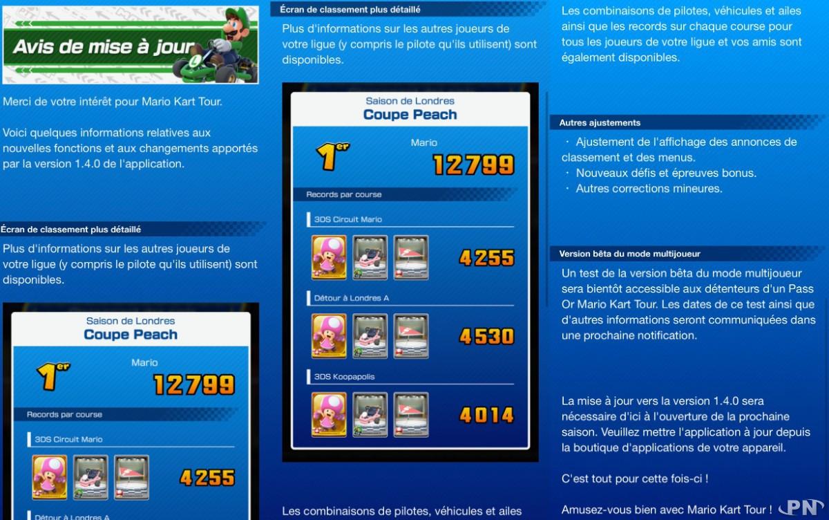 Notes de version 1.4.0 Mario Kart Tour