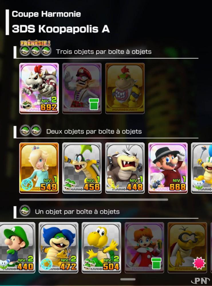 Nouvelles icônes de la version 1.4.0 Mario Kart Tour