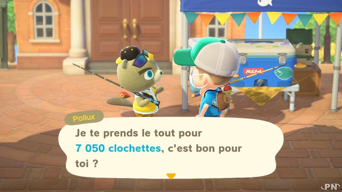 Pollux rachète vos poissons dans à prix d'or dans Animal Crossing New Horizons