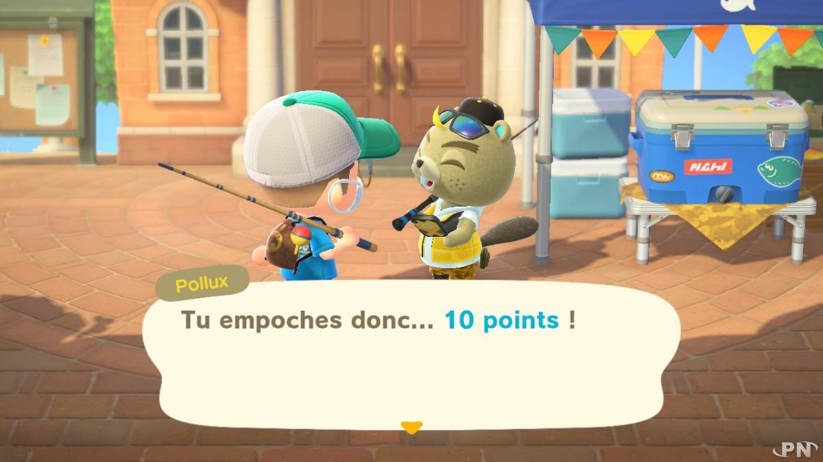 Système de points du Tournoi de pêche Animal Crossing New Horizons