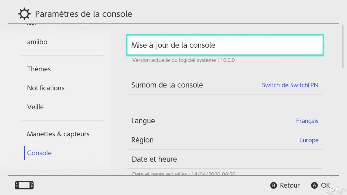 Mise à jour Switch version 10.0.0