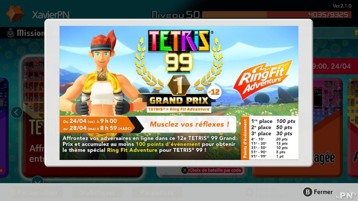 12e Tetris 99 Grand Prix avec Ring Fit Adventure sur Nintendo Switch dès le 24 avril 2020 à 9h