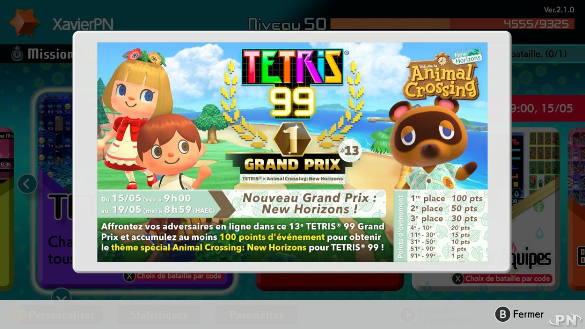 Tetris 99 X Animal Crossing: New Horizons : 13e grand prix