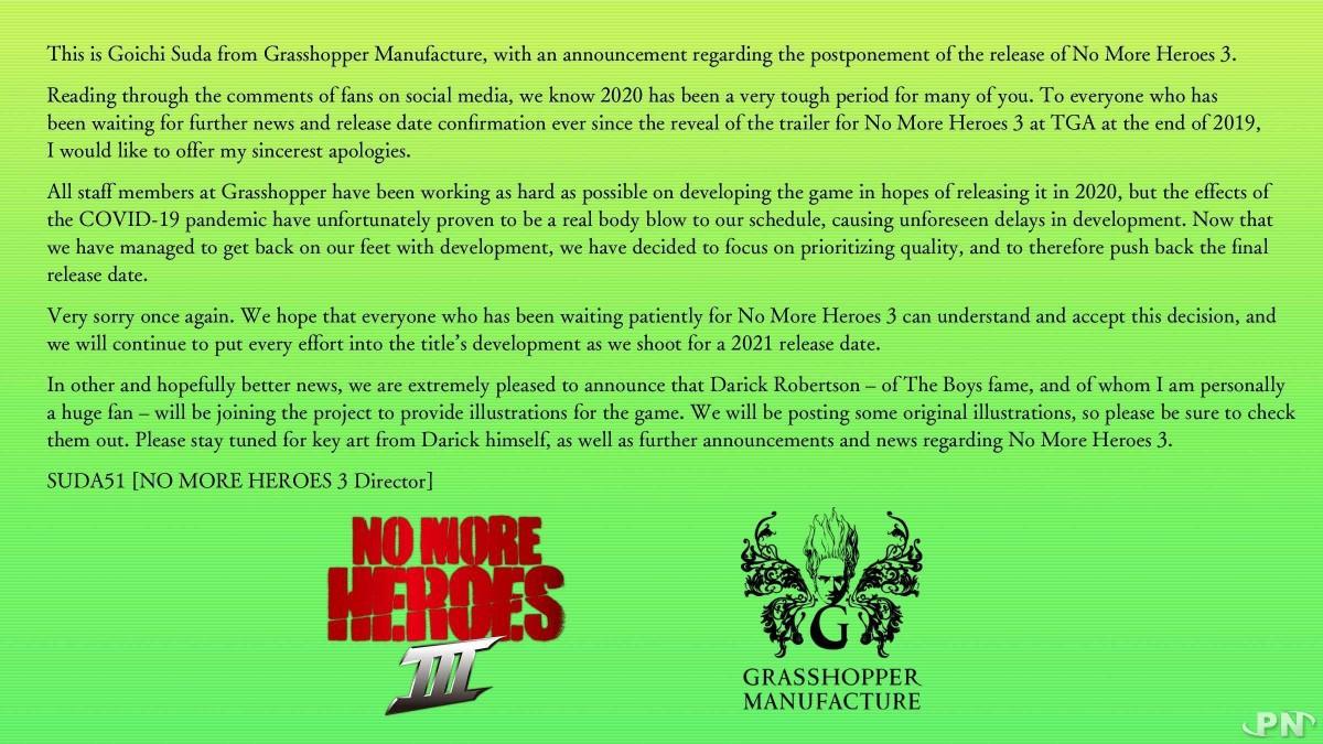 Annonce report No More Heroes 3 par Goichi Suda (Suda51)
