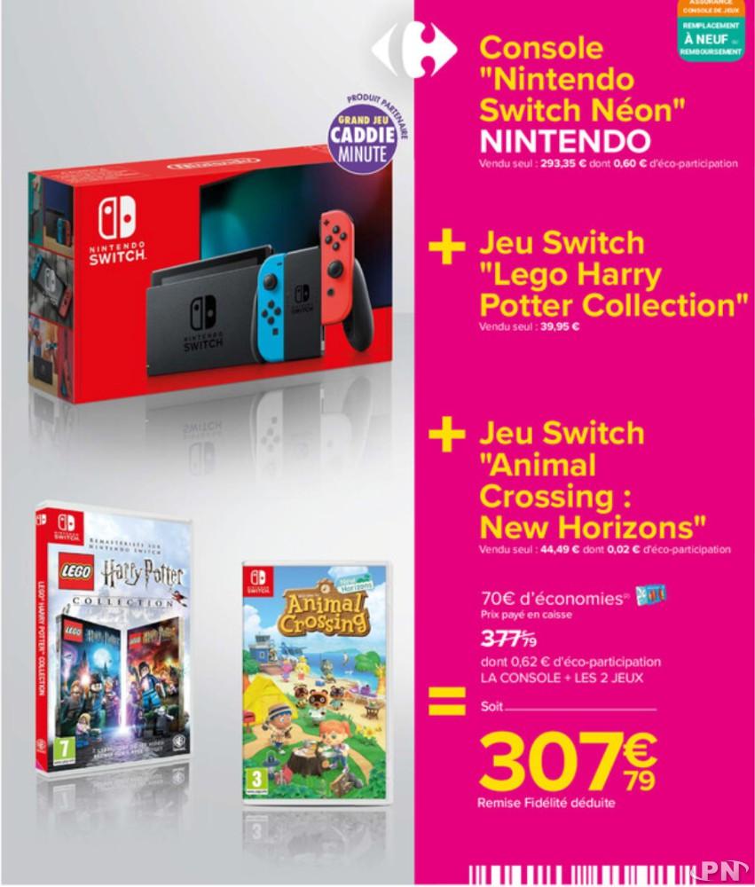 Offre Switch + Lego Harry Potter Collection + Animal Crossing: New Horizons pour 307,79€, remise fidélité de 70 € déduite
