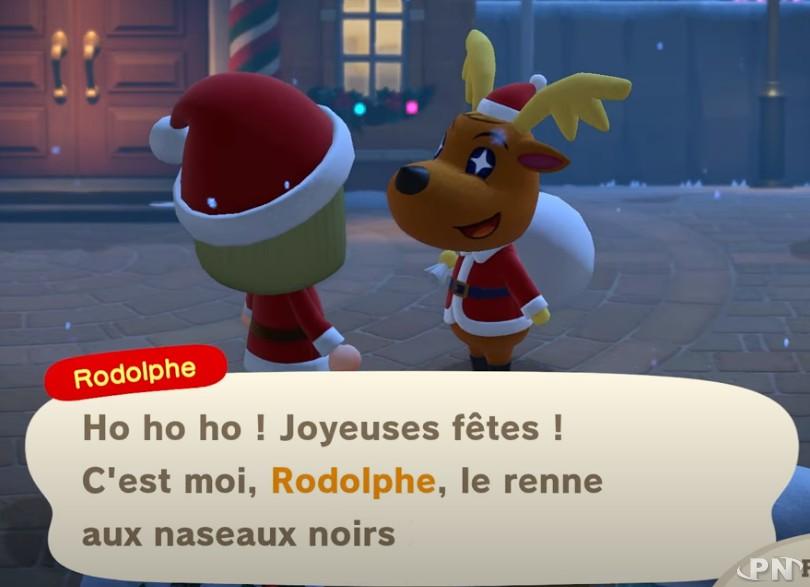 Rodolphe vient pour Noël dans Animal crossing: New Horizons