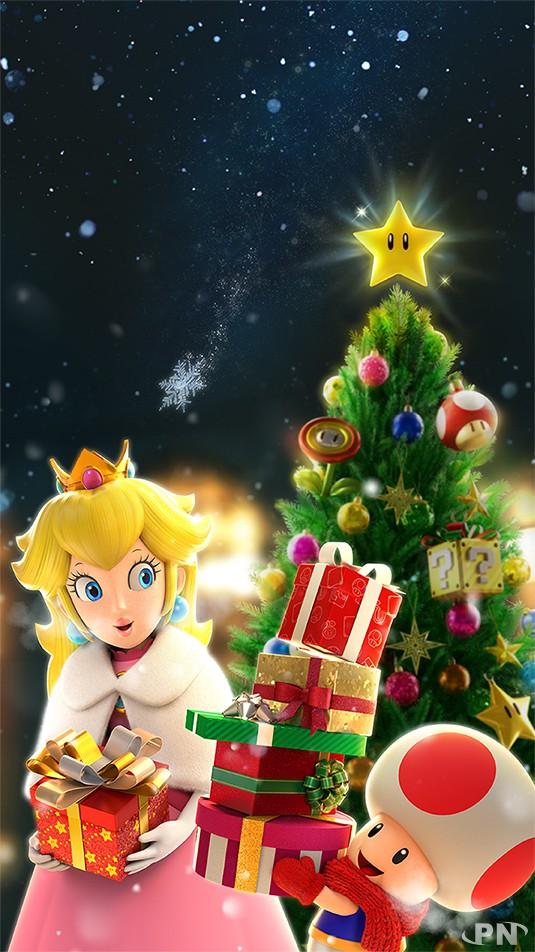 Fond d'écran mobile Peach et Toad chargés de cadeaux (Noël Nintendo 2020)