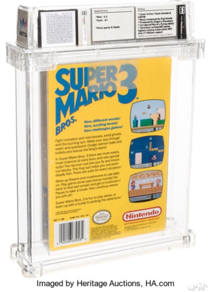Arrière de la jaquette de la version du jeu Super Mario Bros 3 première édition vendue aux USA aux enchères le 19 novembre 2020
