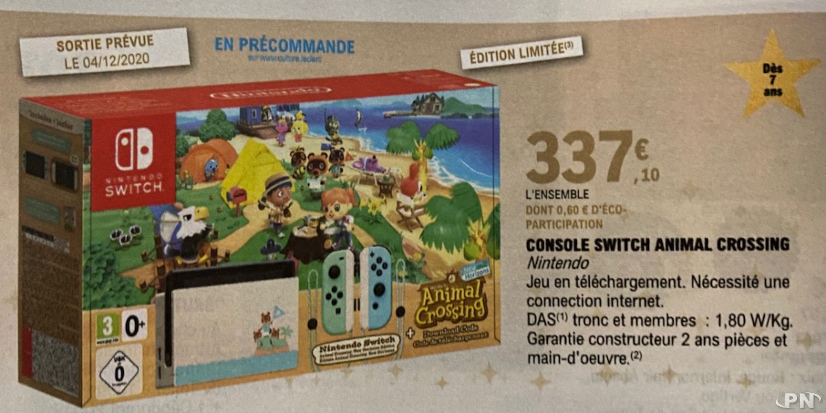 Pack Nintendo Switch Animal Crossing: New Horizons : promotion Leclerc Noël 2020