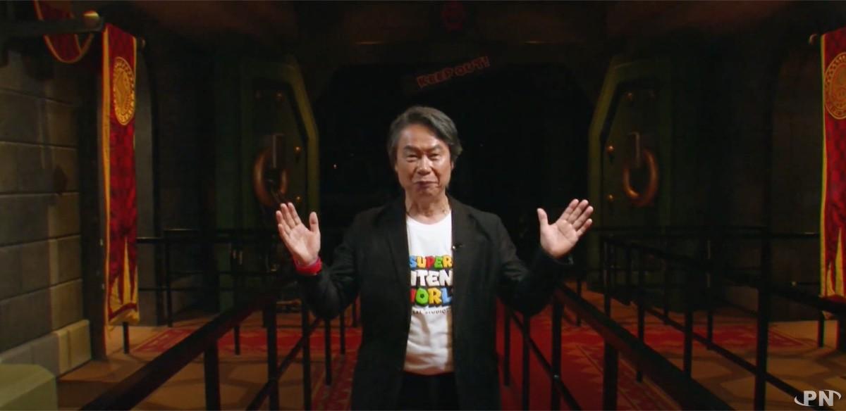 Shigeru Miyamoto nous salue à la fin de la visite de Super Nintendo World