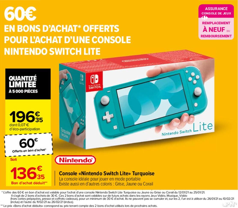 Promotion Switch Carrefour : Nintendo Switch Lite à -60 € en bons d'achats, soit 136.35 €, du 12 au 25 janvier 2021