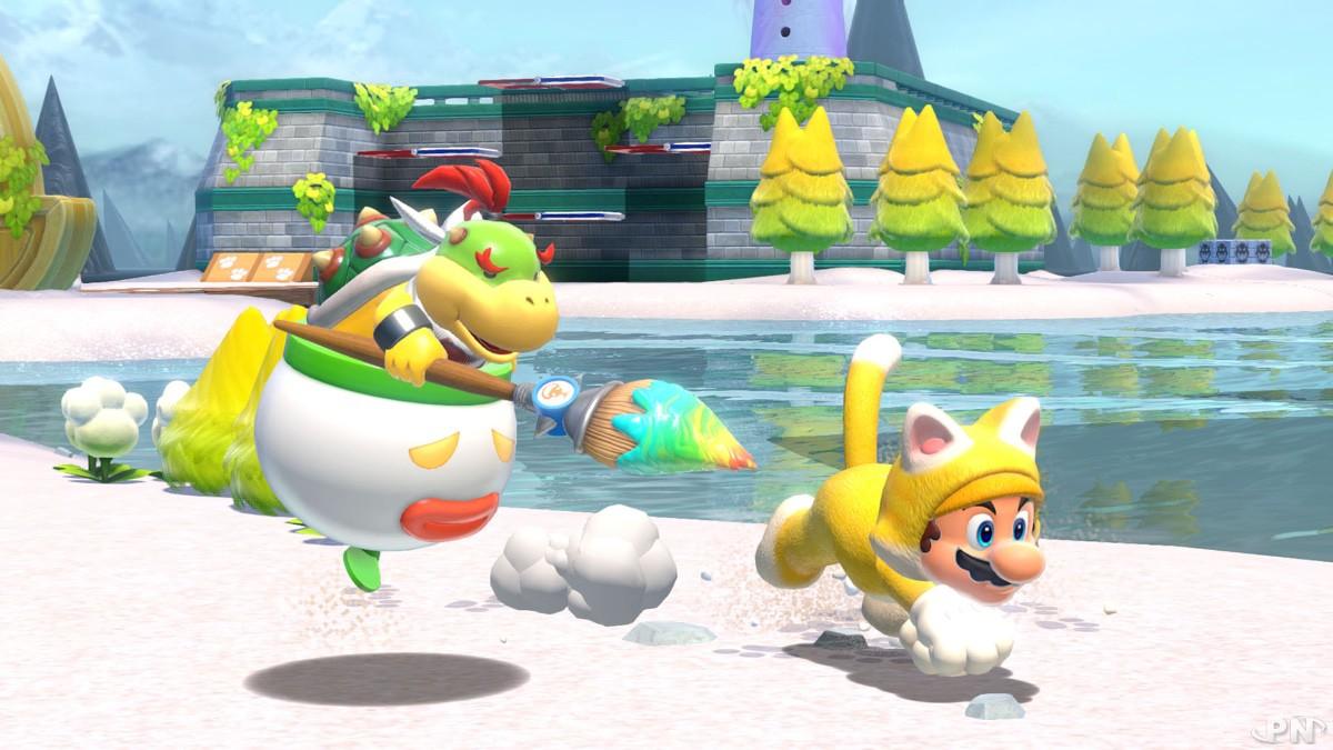 Bowser Jr et Super Mario partenaires dans Super Mario 3D World + Bowser's Fury sur Nintendo Switch