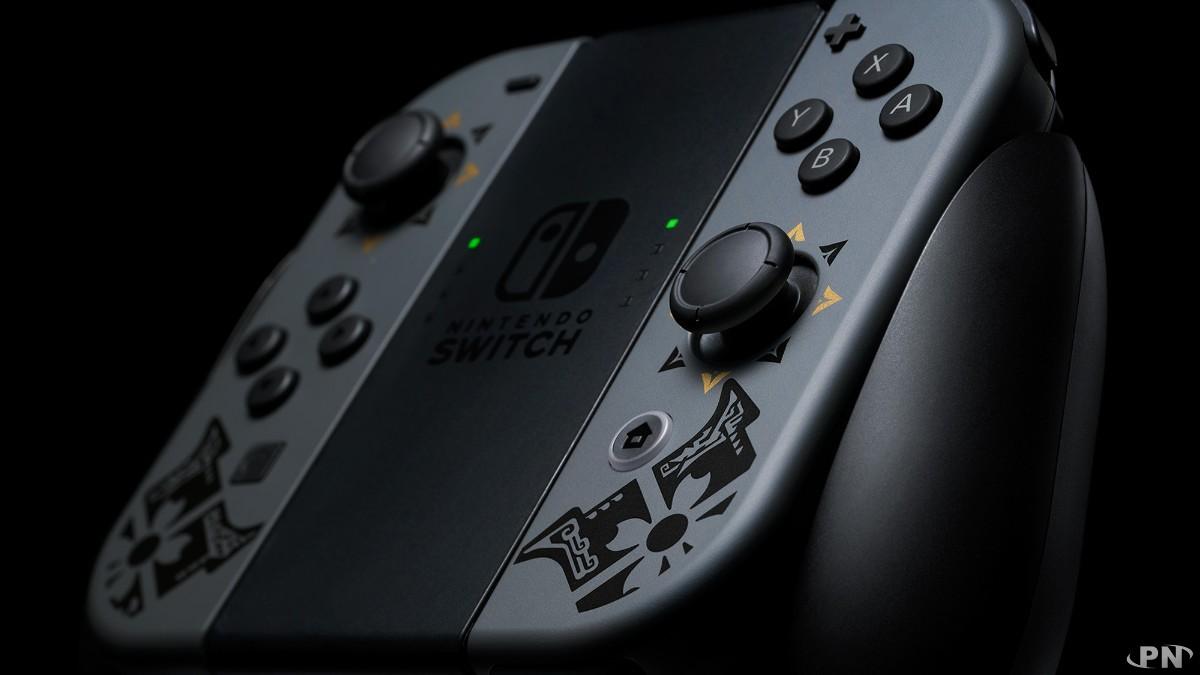Gros plan de la Nintendo Switch Monster Hunter Rise