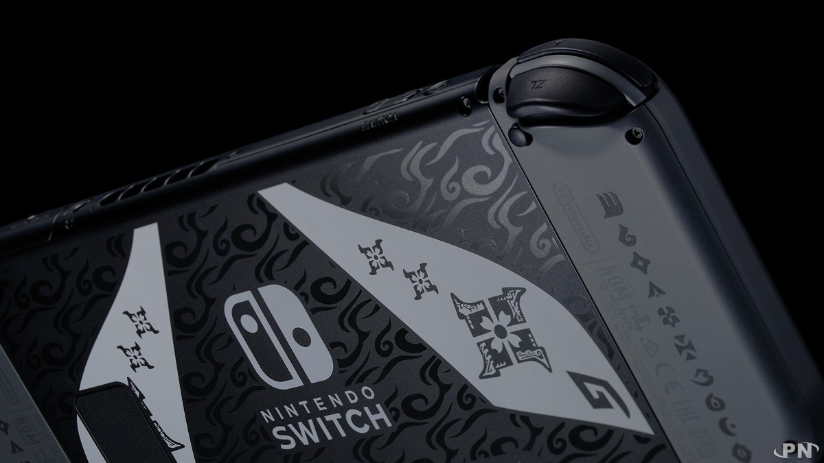 Zoom sur les Joy-Cons de la Switch collector Monster Hunter Rise