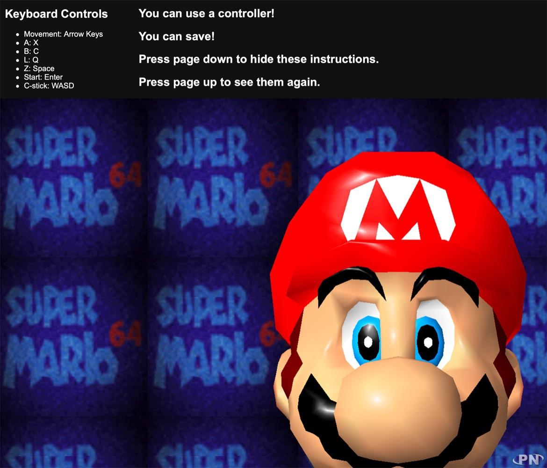 Super Mario 64 dans votre navigateur web, c'est possible !